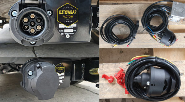 ชุดปลั๊กไฟ 7 pin ของ pajero sport เมื่อนำอุปกรณ์ ลากพ่วงมาต่อจะติดตามสัญญาณไฟรถ เลี้ยวซ้าย ขวา เบรค ไฟหรี่ ไฟฉุกเฉิน